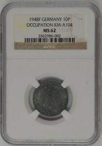 1948-F Germany 10 Reichspfennig - Allied Occupation - NGC MS62