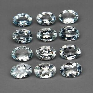7.60Cts 7.0x5.0 VVS 12pcs Natural Unheated Light Blue AQUAMARINE Jewelry Setting