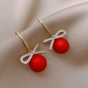 925 Sliver Red Bow Pearl Zircon Earrings Dangle Stud Women Jewellery Xmas Gifts