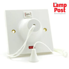BG NEXSUS 45a DP Ceiling Pull Cord Shower Switch With Neon Indicator White Finis