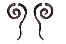 Tibetan Tribal Wooden Handmade Design Wood Brown Fake Gauge Stud Earring WER227
