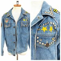 Vintage VTG 1970s 70s Light Wash Denim Patched Studded Jacket