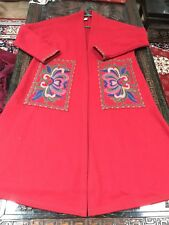 Women's Size M  long wool Coat Red color