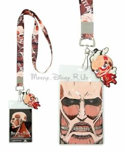 Attack On Titan Colossal ID Card Pin Holder Lanyard Neck Strap W/Rubber Charm