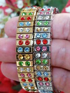 Multi GEM bracelet Tennis GOLD Jewelry Silver SWAROVSKI Gift women HANDMADE  2ct