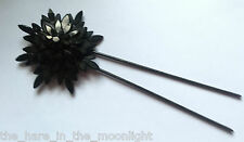Fabulous Victorian Star Mourning Hair Pin - Faux Jet Vauxhall Black Mirror Glass