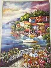 PAYSAGE IMAGE Maison paillettes sur Fil de fer rivière Peintures au bord du Lac