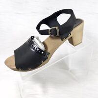 Sanita Yara Women's Sandals Square Flex Wood Black Leather Size 40 US 9-9.5 New