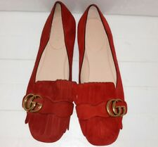Gucci Marmont Fringe GG Red Suede Flat Women's Shoes Size 36