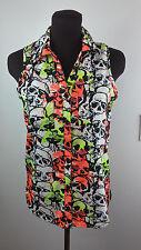 Women's Deb Blouse Sz Small Multi Color Fluorescent Skull Print Sleeveless