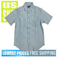 Polo Ralph Lauren Men's NWT Blue 100% Cotton SH Sleeve Button Front Shirt MEDIUM