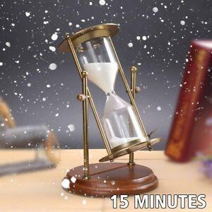 19CM Large Rolating Sand Metal Hourglass Sandglass Sand Timer Clock Decor  #+