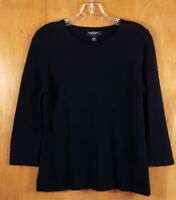 LORD & TAYLOR Size L Black Cashmere Crewneck 3/4 Sleeve Pullover Sweater