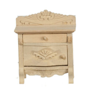 Miniature Dollhouse Unfinished Nightstand 1:12 Scale New