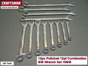 CRAFTSMAN TOOLS 12 pc FULL POLISH METRIC Combination Wrench Set - 4 Long Profile