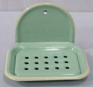Enamel Soap Dish, Nostalgia Soap Tray to Hang, Pastel Mint