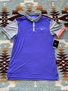 Nike Golf Victory Dri Fit Purple Gray Pink Polo Golf Shirt 833108-518 Medium M