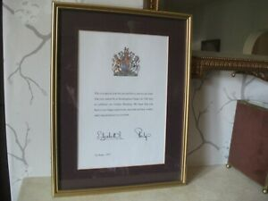 BUCKINGHAM PALACE SIGNED LETTER OF CONGRATULATIONS 50TH WEDDING FRAMED 1997