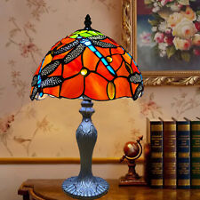 """Dragonfly Tiffany Handmade Stained Glass Table Lamp 10"""" shade Home Decor UK Plug"""