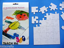 A5 Blank Jigsaw Puzzles Colour Your Own White Cardboard Craft Pack of 16