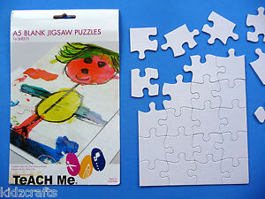 A5 Blank Jigsaw Puzzles - Kids Colour Your Own - White Cardboard - Craft PK 6
