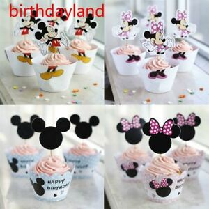 Minnie Mouse Cupcake Mickey Mouse Paper Cupcake Wrappers Toppers Kids Birthday