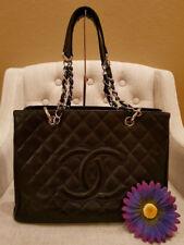 Authentic CHANEL GST Grand Shopper Shopping Tote Bag Black Caviar Silver HW