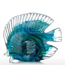 NEW Blue Tropical Fish Glass Sculpture Home Decoration Glass Gift Statues W9Y9