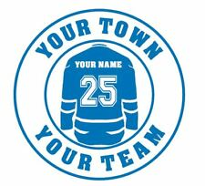 Hockey Jersey with Team Name and Home Town window decal