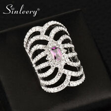 Retro Luxury Square Purple Crystal Hollow Long Finger Rings For Women 2017 Brand