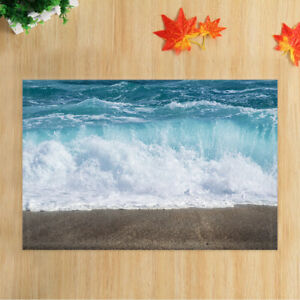 Blue Sea Wave Shower Curtain for the Bathroom, Ocean Beach Bath Curtains 71in