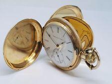 ANTIQUE , ELGINE NATL WATCH CO 14 KARAT YELLOW GOLD POCKET WATCH, HUNTER CASE