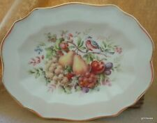 """Hand Decorated Oval Plate Wedgwood for Avon Products 1976 Fruit & Bird 8.75"""""""