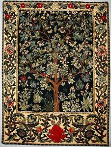 """26"""" TREE OF LIFE WM MORRIS FULLY LINED BELGIAN TAPESTRY WALL HANGING, ROD SLEEVE"""