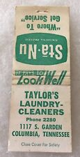 Columbia Tennessee TAYLOR'S LAUNDRY CLEANERS PHONE 2280 Matchbook Cover