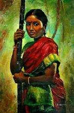 Indian Oil Painting  On Canvas, Textured, Palette Knife, Lady, Large.