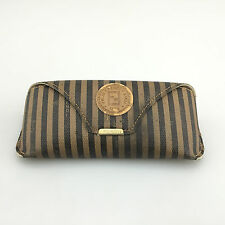 Fendi Sunglasses Case Only Small Brown Softcase Vintage Italy Stripe