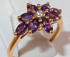 8-Stone Amethyst Floral Ring in gold overlay Sterling Silver, 1.52ct. Size T.