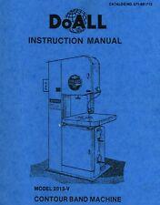 Doall 2013 V Contour Band Machine Operator Instruction Maintenance Manual 1988