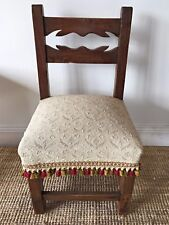 Antique French Walnut Child's Chair Upholstered Tassels -   J068