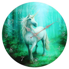 Stunning Anne Stokes Unicorn Glass Wall Clock - Forest Unicorn - 34cm