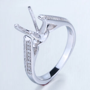 Solid 14k White Gold Fine Jewelry Round 7mm Natural Diamond Semi Mount Gift Ring
