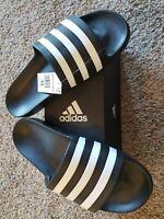 New W/Box-Adidas Adilette Aqua Slides-Sandals Black/White Men's Size 12 [F35543]