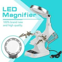 Helping Hand Soldering Stand With Magnifier Magnifying Glass Lens 10 LED Light