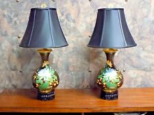"PAIR OF 28"" CLOISONNE LAMPS - BLACK BIRD & FLOWER, CHINESE VASE OCTAGON BASES"
