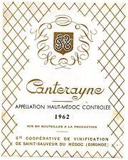 étiquette vin cave coopérative CANTERAYNE 1962 N'EXISTE PLUS