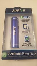 Justin Blue 2,200 mAh Power Stick Cell Phone Power Bank Brand New Free Shipping