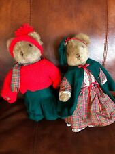Girl And Boy Teddy Bears Dressed For Winter And Christmas