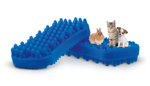 NEW Pet+Me BLUE SOFT SHORT Silicone Pet Brush Short Hair Dogs, Cats, Small Anima
