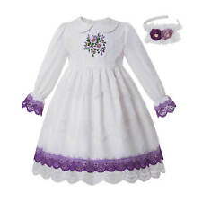 Embroidery Flower Girls Princess Dress Communion Party Pageant Long Sleeve 2-14